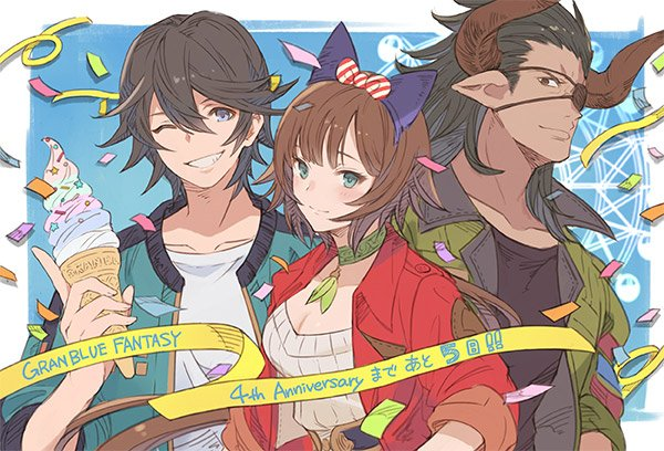 1girl 2boys animal_ears artist_request black_hair breasts brown_hair cain_(granblue_fantasy) casual cat_ears choker cleavage confetti countdown dark_skin dark_skinned_male draph eyepatch fake_animal_ears ferris_wheel granblue_fantasy green_jacket ice_cream_cone jacket leona_(granblue_fantasy) long_hair looking_at_viewer multiple_boys official_art one_eye_closed ponytail red_jacket reinhardtzar shirt smile white_shirt