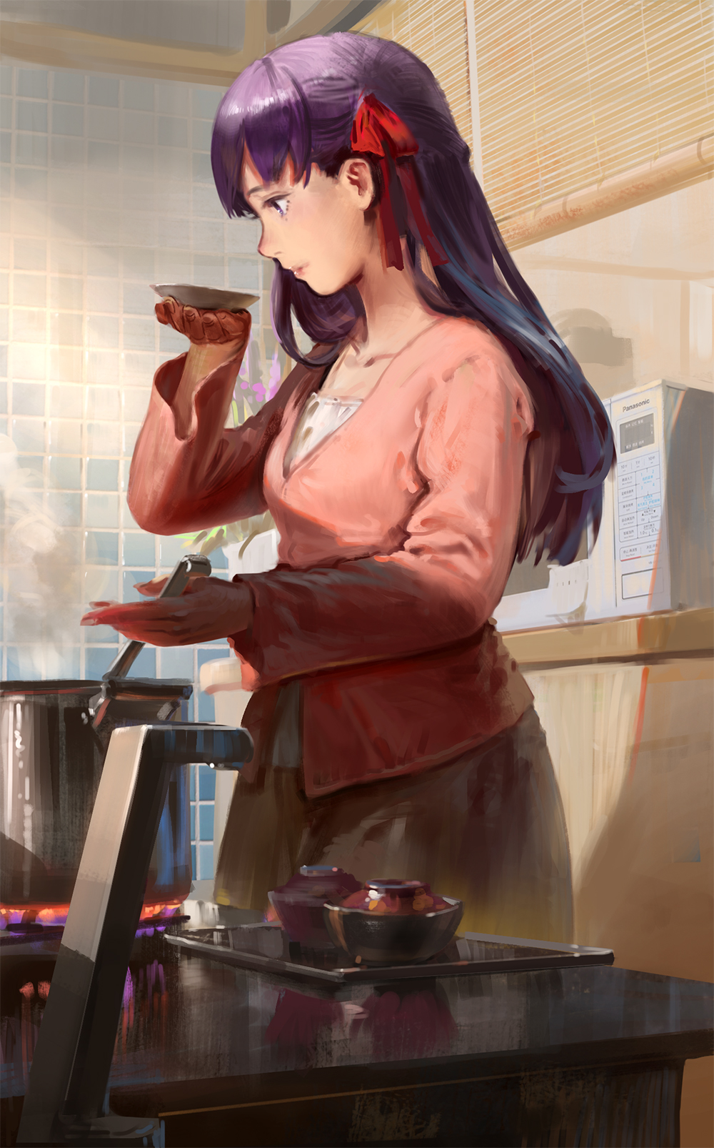 1girl bow casual collarbone commentary cooking dish dutch_angle fate/stay_night fate_(series) hair_bow happy_birthday highres indoors jeanex kitchen long_hair matou_sakura microwave mole mole_under_eye pot profile purple_hair saucer solo steam stove