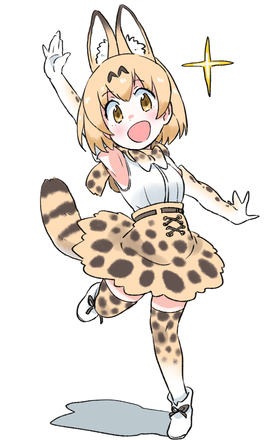 1girl :d animal_ears animal_print blonde_hair bow bowtie commentary_request elbow_sleeve extra_ears eyebrows_visible_through_hair hands_up high-waist_skirt highres kemono_friends leopard_print open_mouth sandstar serval_(kemono_friends) serval_ears serval_print serval_tail shadow short_hair simple_background skirt smile standing standing_on_one_leg tail thigh-highs white_background yellow_eyes zettai_ryouiki zk_(zk_gundan)
