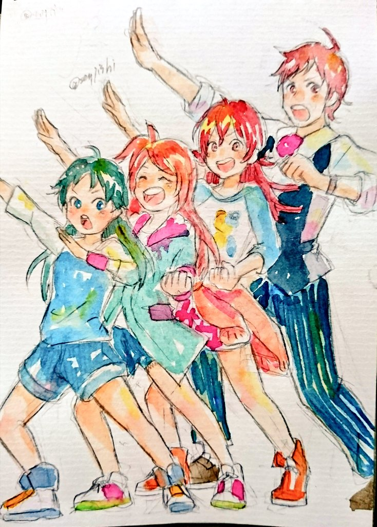 1boy 3girls age_difference ahoge arm_up ascot clenched_hand closed_eyes clothes_around_waist green_hair height_difference idolmaster idolmaster_cinderella_girls idolmaster_million_live! idolmaster_shiny_colors idolmaster_side-m jacket jacket_around_waist komiya_kaho long_hair looking_at_viewer multiple_girls nanjou_hikaru oogami_tamaki open_mouth pose raglan_sleeves red_neckwear redhead shoes shorts smile sneakers tatsusen tendou_teru traditional_media trait_connection twitter_username watercolor_(medium)