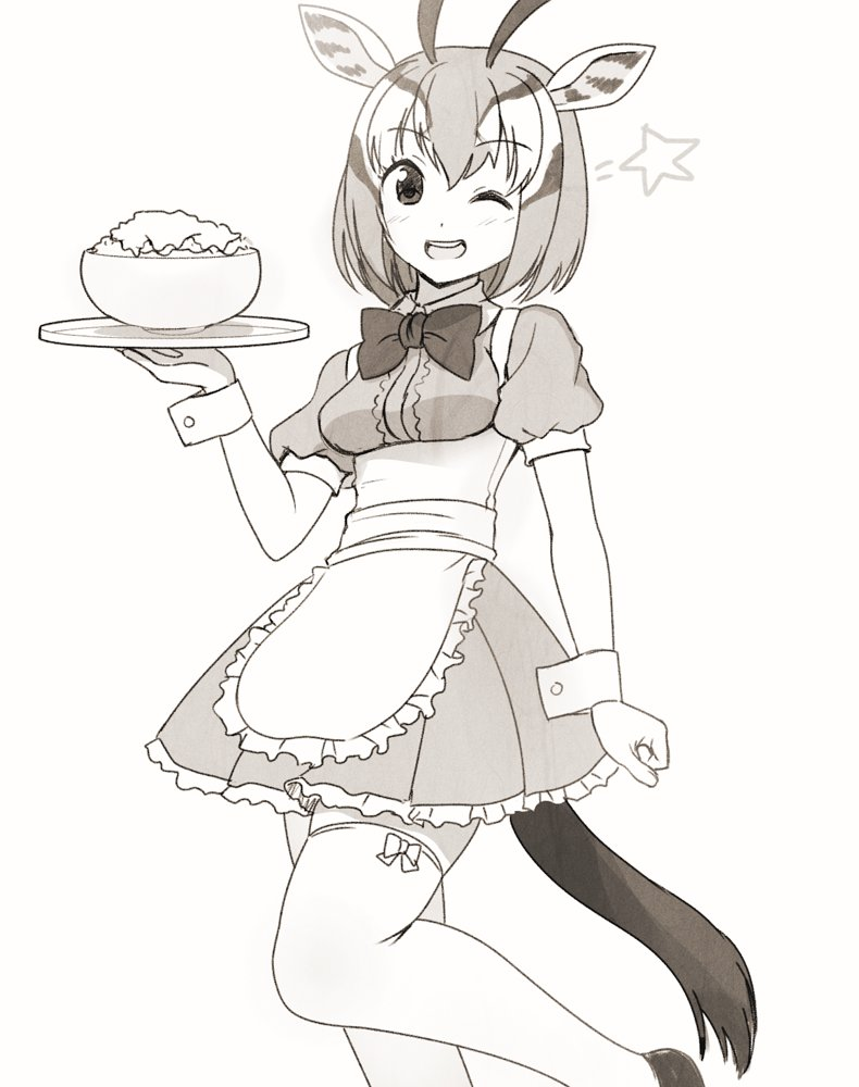 1girl :d alternate_costume animal_ears apron blush bow bowtie breasts enmaided eyebrows_visible_through_hair gazelle_ears gazelle_horns gazelle_tail greyscale horns kemono_friends looking_at_viewer maid medium_breasts monochrome multicolored_hair one_eye_closed open_mouth pleated_skirt shoes short_hair simple_background skirt smile solo standing standing_on_one_leg star tail thigh-highs thomson's_gazelle_(kemono_friends) totokichi tray waist_apron white_background wrist_cuffs