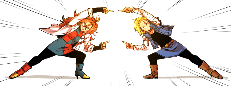 2girls :3 android_18 android_21 blonde_hair boots brown_hair dragon_ball dragon_ball_fighterz dragonball_z earrings fusion_dance glasses hoop_earrings jacket jewelry kemachiku labcoat looking_at_viewer multiple_girls simple_background