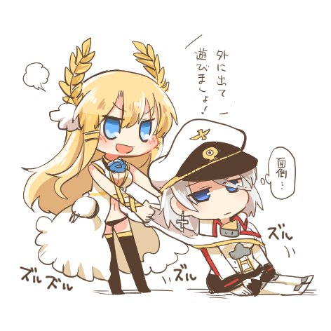 >:d 2girls azur_lane black_legwear black_panties blonde_hair blue_eyes blue_flower blue_rose blush chibi commentary_request cross cross_earrings dress earrings expressionless eyebrows_visible_through_hair flower hat jacket jewelry laurel_crown long_hair long_sleeves lowres medium_hair military military_uniform multiple_girls panties peaked_cap pulled_by_another rebecca_(keinelove) ribbon rigging rose silver_hair sitting sleeveless sleeveless_dress smile standing thigh-highs tirpitz_(azur_lane) translation_request turret underwear uniform veil victorious_(azur_lane) white_coat white_footwear white_hat white_jacket wrist_ribbon