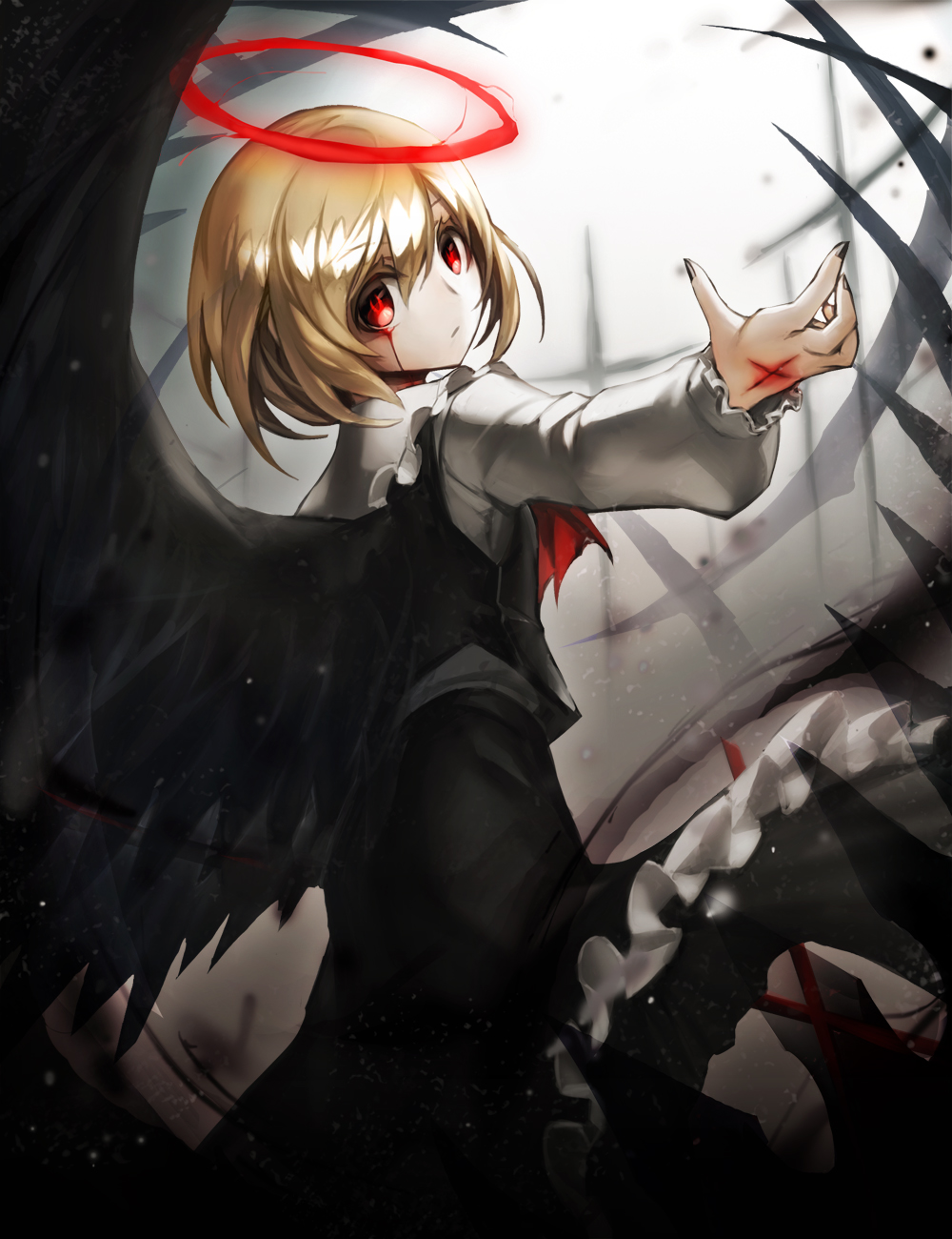 1girl black_nails black_skirt black_vest black_wings blonde_hair blood bloody_tears closed_mouth collar collared_shirt ex-rumia expressionless feathered_wings frilled_collar frilled_skirt frills halo highres injury long_sleeves looking_at_viewer nail_polish red_eyes rumia shirt short_hair skirt solo spark621 touhou vest wings