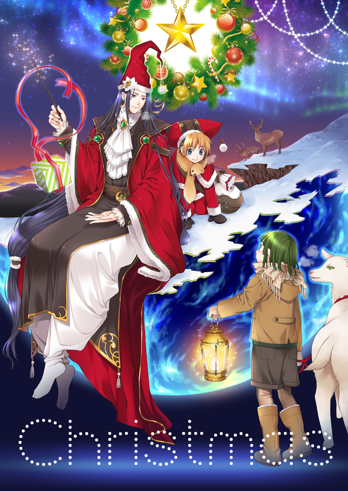 3boys abstract alternate_costume aurora bangs beanie black_gloves black_hair blonde_hair blue_eyes blue_hair blunt_bangs boots box brown_footwear candy candy_cane child christmas christmas_lights christmas_ornaments cliff closed_mouth clouds dosanko earrings english eye_contact floating food fujiwara_no_sai gift gift_box gloves goat green_eyes green_hair happy hat hikaru_no_go holding holding_lantern holding_wand horns jacket jewelry lantern levitation long_hair long_sleeves looking_at_another looking_at_viewer looking_away looking_down looking_up magic mountain multicolored_hair multiple_boys night night_sky no_shoes red_ribbon reindeer ribbon santa_costume santa_hat shindou_hikaru short_hair shorts sitting sky smile snow standing star star_(sky) starry_sky telekinesis touya_akira twilight two-tone_hair unwrapping very_long_hair wand winter_clothes wreath younger