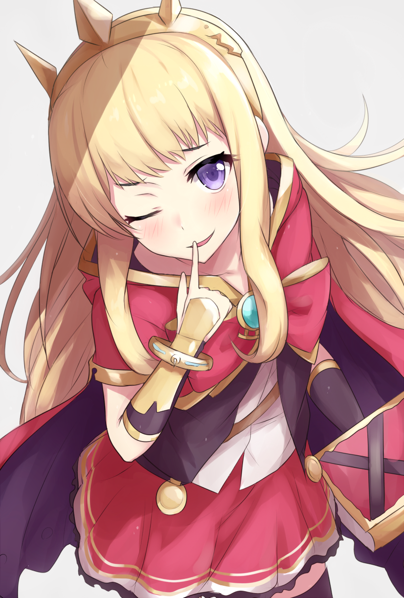 1girl ;) blonde_hair blush book bracer cagliostro_(granblue_fantasy) cape cowboy_shot finger_to_mouth gem granblue_fantasy highres ichijou_(kr_neru0) jewelry looking_at_viewer one_eye_closed red_skirt skirt smile solo spiked_hairband spikes tiara violet_eyes
