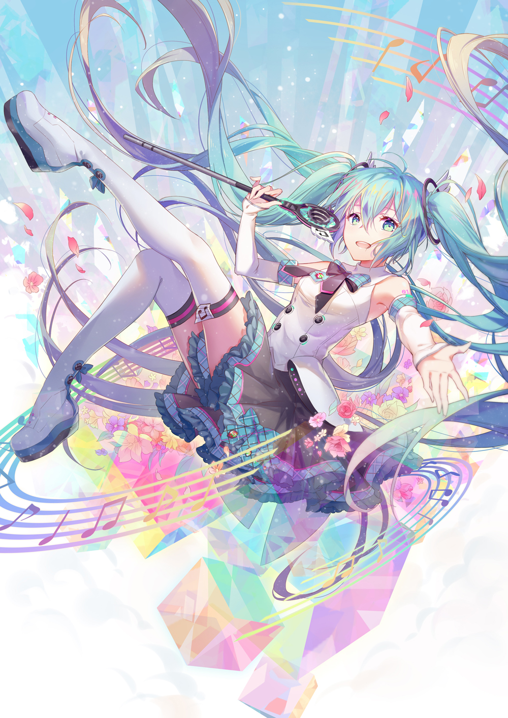 1girl aqua_eyes aqua_hair boots detached_sleeves flower hatsune_miku highres long_hair looking_at_viewer magical_mirai_(vocaloid) microphone minland4099 musical_note open_mouth outstretched_arm platform_footwear skirt solo staff_(music) thigh-highs thigh_boots twintails very_long_hair vocaloid white_legwear