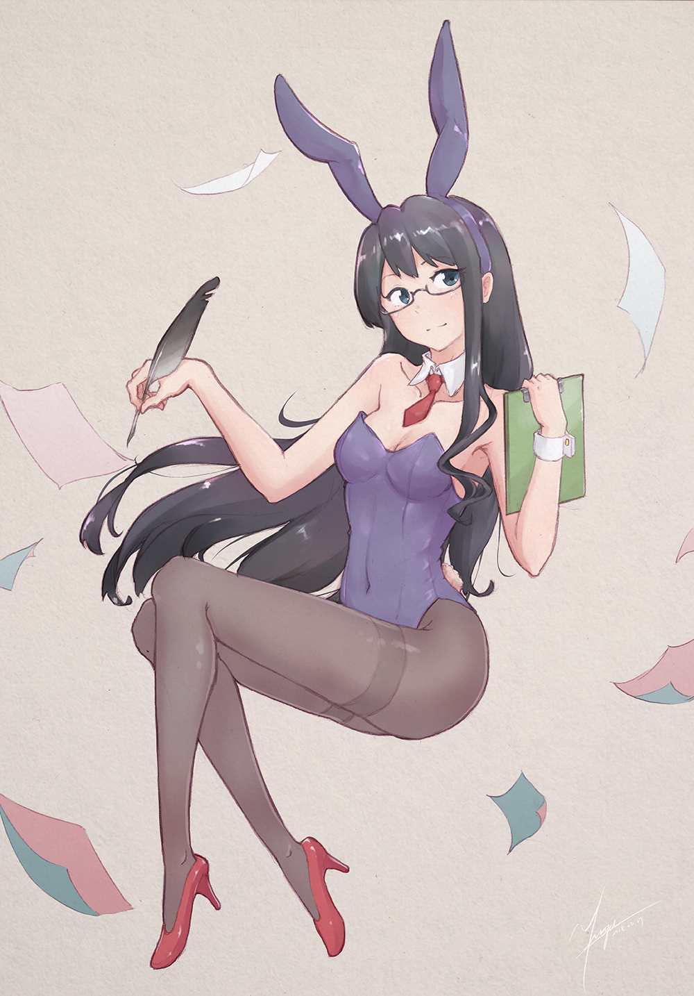 1girl animal_ears black_eyes black_hair blue_eyes breasts brown_legwear bunny_girl bunnysuit clipboard full_body glasses grey_background highres kantai_collection leotard long_hair necktie ooyodo_(kantai_collection) pantyhose paper purple_leotard quill rabbit_ears red_neckwear semi-rimless_eyewear simple_background small_breasts smile solo strapless strapless_leotard thighband_pantyhose under-rim_eyewear yirga