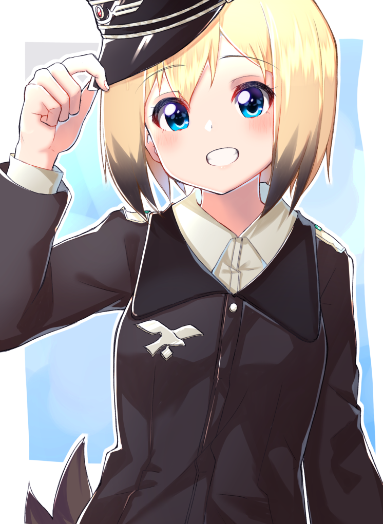 1girl :d arm_at_side arm_up black_hair blonde_hair blue_background blue_eyes blush collared_shirt emblem erica_hartmann eyebrows_visible_through_hair grin hand_on_headwear hat hat_tip long_sleeves looking_at_viewer military military_uniform multicolored_hair open_mouth peaked_cap shiny shiny_hair shirt short_hair sikutogurei_(kunugi_miyaco) smile solo strike_witches tail tareme teeth two-tone_hair uniform upper_body white_shirt wing_collar world_witches_series