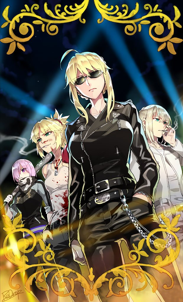 1boy 3girls artoria_pendragon_(all) artoria_pendragon_(lancer) bandanna bedivere black_jacket black_pants blood bloody_clothes braid card_(medium) card_parody chains cigarette craft_essence delinquent dog_tags dutch_angle fate/apocrypha fate/grand_order fate/stay_night fate_(series) french_braid green_eyes hair_over_one_eye hand_in_pocket jacket lavender_hair leather leather_jacket mash_kyrielight mordred_(fate) mordred_(fate)_(all) multiple_girls pants parody redrop short_hair sidelocks signature skin_tight skull_print sleeves_rolled_up smirk smoking sunglasses