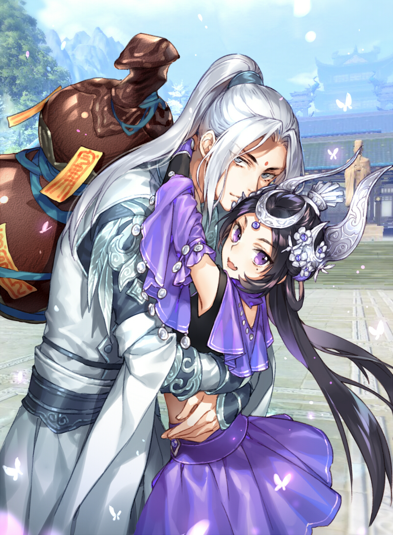 1boy 1girl :d architecture bangs black_hair blue_eyes blush bracer butterfly closed_mouth day detached_sleeves east_asian_architecture facial_mark fang forehead_mark gourd headpiece hug jian_wang_3 kangetsu_(fhalei) long_hair looking_at_viewer mole mole_under_eye open_mouth outdoors parted_bangs ponytail purple_skirt silver_hair skirt smile statue tiara violet_eyes
