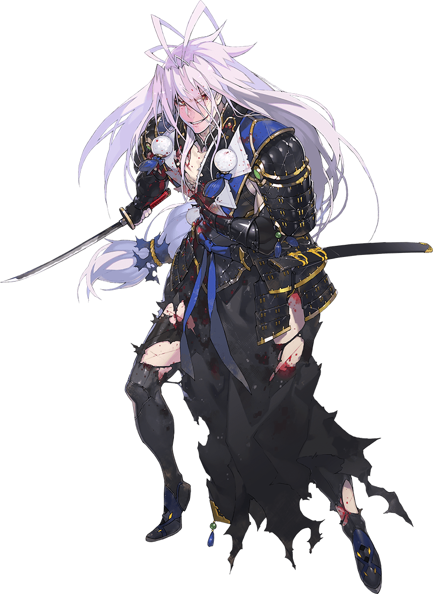 1boy antenna_hair armor black_legwear blood hand_on_own_stomach injury japanese_armor katana kiwame_(touken_ranbu) kote lavender_hair long_hair low-tied_long_hair male_focus namaniku_atk official_art red_eyes sengo_muramasa_(touken_ranbu) sheath side_slit smile sode sword thigh-highs torn_clothes torn_legwear touken_ranbu transparent_background weapon