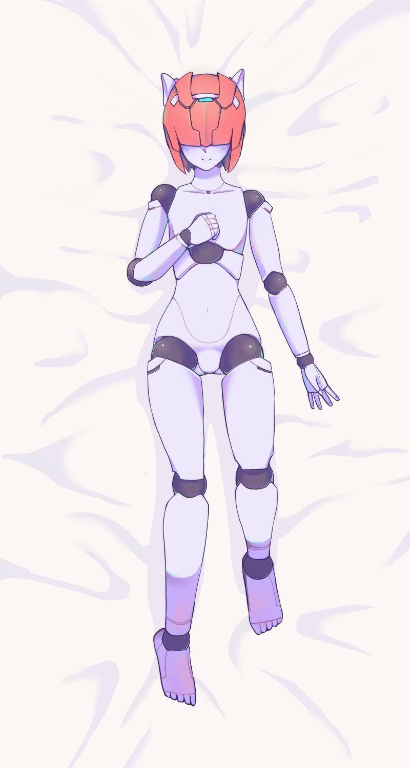 1boy android blush hair_over_eyes highres kinou_tsunao male_focus no_humans on_bed pink_hair robot robot_joints robot_neoanthropinae_polynian shamrock_(polynian) solo trap