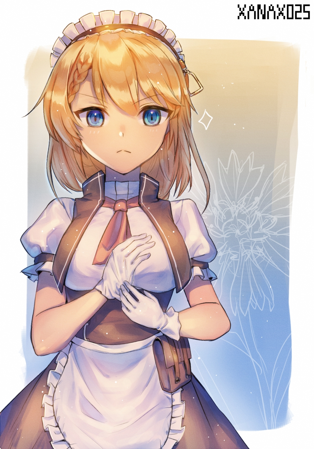 1girl apron artist_name bangs blonde_hair blue_eyes braid breasts character_request closed_mouth eyebrows_visible_through_hair french_braid frilled_apron frills girls_frontline gloves highres long_hair looking_at_viewer maid maid_apron maid_headdress medium_breasts saku_t upper_body white_apron white_gloves