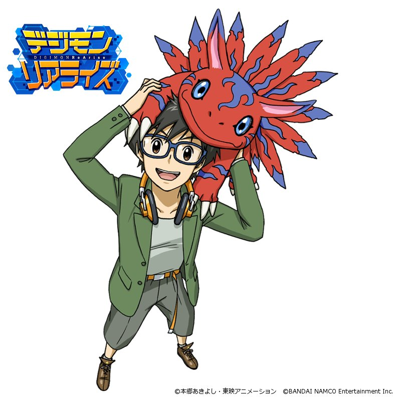 1boy black_hair blue-framed_eyewear blue_eyes brown_eyes brown_footwear claws commentary_request company_name creature creature_on_head digimon digimon_rearise elecmon green_jacket grey_legwear grey_shirt grey_shorts headphones headphones_around_neck jacket logo looking_at_viewer nakatsuru_katsuyoshi official_art open_mouth orange_headphones shirt shoes shorts simple_background smile socks tamada_keito watermark white_background