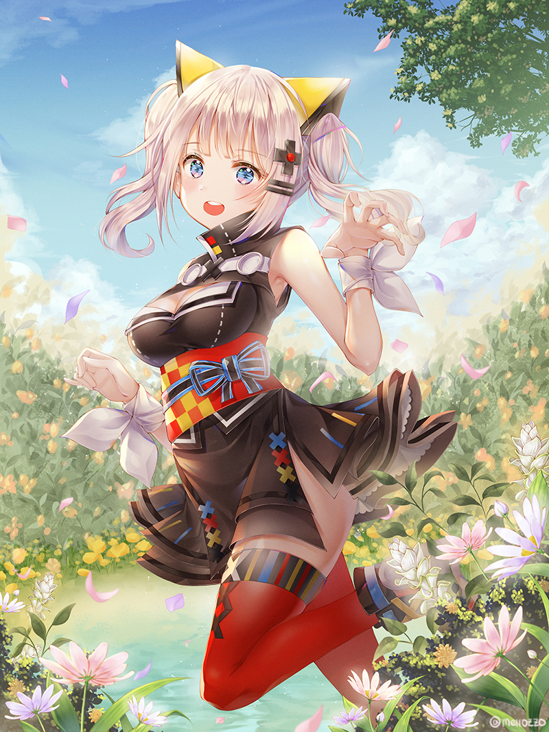 1girl bangs bare_arms blue_eyes blue_sky blush boots breasts cleavage cleavage_cutout clouds day dress eyebrows_visible_through_hair flower hair_ornament hairclip kaguya_luna kaguya_luna_(character) long_hair looking_at_viewer medium_breasts mellozzo nature obi one_leg_raised open_mouth outdoors petals red_legwear ribbon round_teeth sash silver_hair sky sleeveless sleeveless_dress solo standing standing_on_one_leg teeth thigh-highs twintails twitter_username water wrist_ribbon