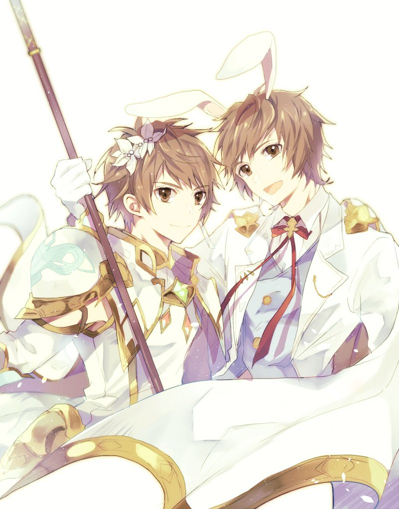 2boys animal_ears arm_around_shoulder brown_eyes brown_hair cosplay dual_persona fake_animal_ears flower gran_(granblue_fantasy) granblue_fantasy hair_flower hair_ornament knights_of_glory looking_at_viewer male_focus multiple_boys rabbit_ears red_ribbon ribbon sage_(granblue_fantasy) smile staff the_glory the_glory_(cosplay)