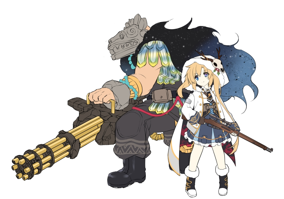 1boy 1girl animal_skull bangs black_footwear black_gloves black_neckwear blonde_hair blue_eyes blue_skirt blush boots cape character_request closed_mouth collared_shirt eyebrows_visible_through_hair fingerless_gloves fur-trimmed_boots fur-trimmed_hood fur_trim gatling_gun girls_frontline gloves grey_pants gun hair_between_eyes holding holding_gun holding_weapon hood hood_up hooded_jacket jacket jiang-ge long_hair long_sleeves minigun necktie pants pleated_skirt rifle shirt sidelocks simple_background skirt smile sniper_rifle standing very_long_hair weapon weapon_request white_background white_cape white_jacket white_shirt