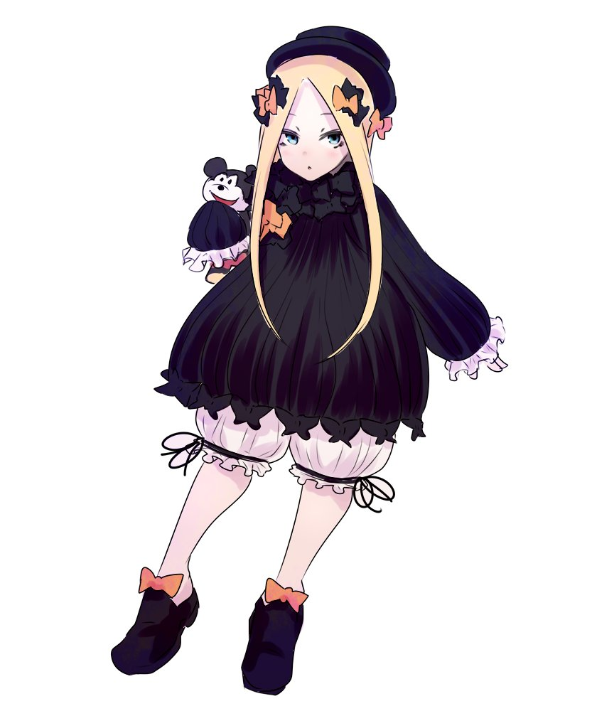 1girl abigail_williams_(fate/grand_order) bangs black_bow black_dress black_footwear black_hat black_ribbon blonde_hair bloomers blue_eyes bow disney dress eyebrows fate/grand_order fate_(series) frilled_sleeves frills full_body ginku_mh hair_bow hat holding holding_stuffed_animal legs_apart long_hair long_sleeves looking_at_viewer mickey_mouse orange_bow parted_bangs ribbon shoes simple_background sleeves_past_wrists solo straight_hair stuffed_animal stuffed_toy top_hat underwear white_background white_bloomers
