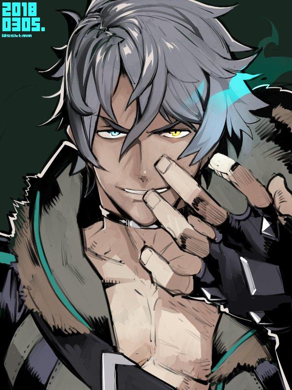 1boy fujimoto_hideaki gloves green_eyes jacket male_focus short_hair sieg_b_goku_genbu silver_hair simple_background smile solo spoilers xenoblade xenoblade_2 yellow_eyes