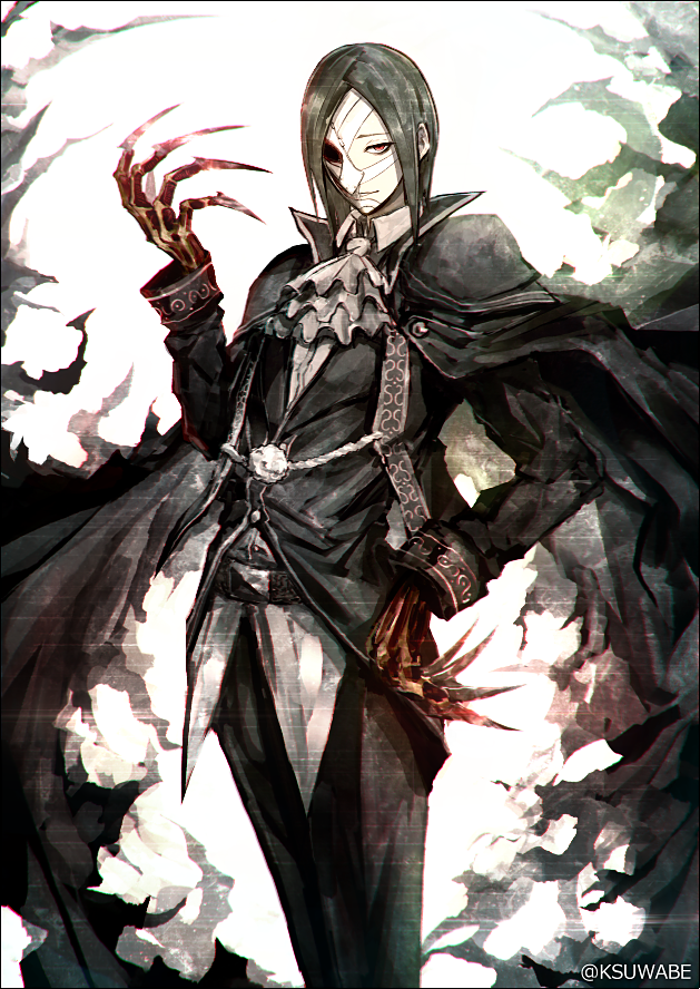 1boy ascot bangs black_border black_cape black_hair black_jacket black_pants border cape claws closed_mouth commentary_request fate/grand_order fate_(series) grey_neckwear hand_on_hip hand_up jacket kei-suwabe long_sleeves looking_at_viewer mask medium_hair one_eye_covered pants parted_bangs phantom_of_the_opera_(fate/grand_order) red_eyes solo standing twitter_username