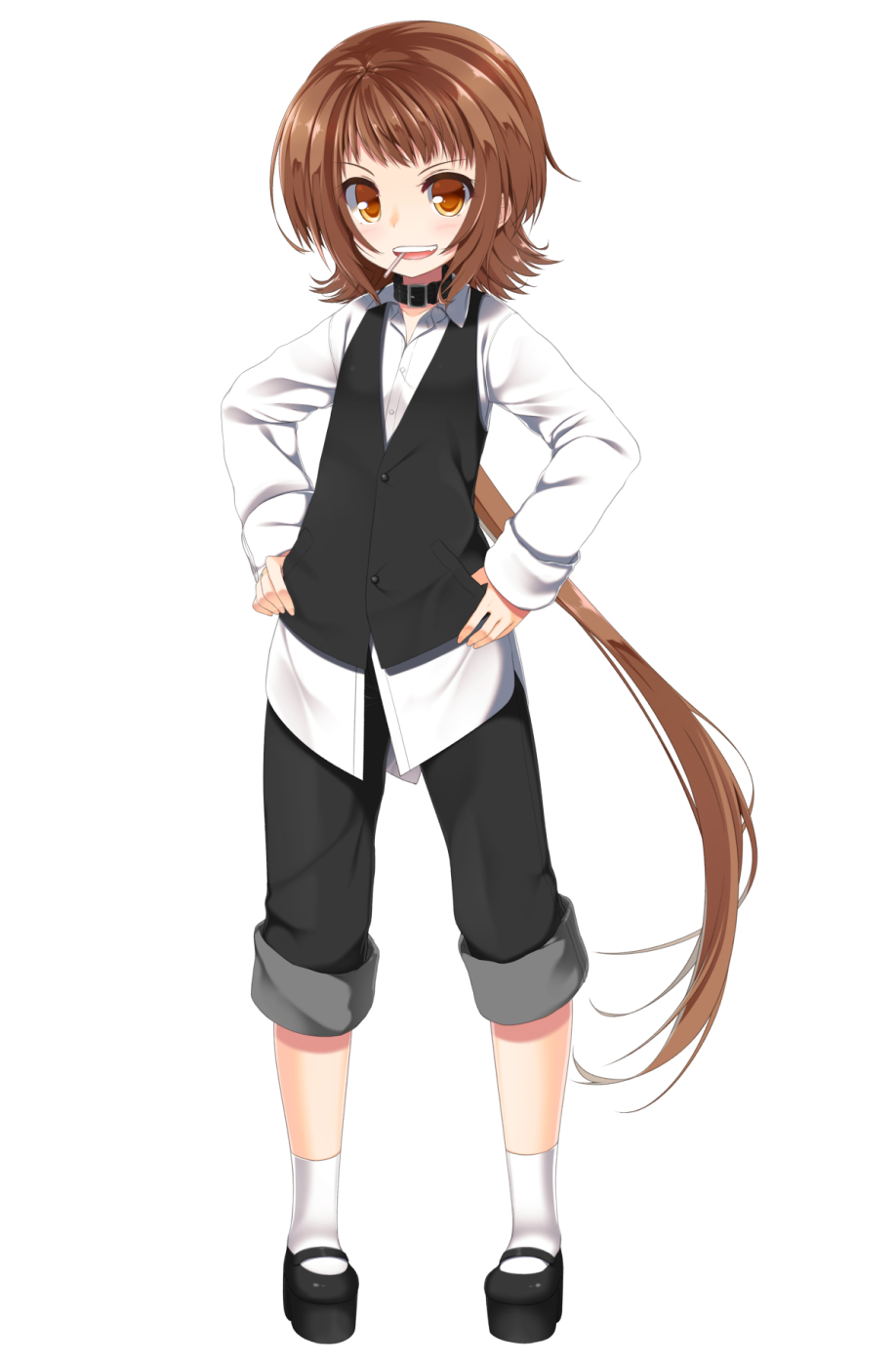 1girl brown_eyes brown_hair candy collar dress_shirt food hands_on_hips highres lollipop long_hair open_mouth original pants pants_rolled_up ponytail shirasu_youichi shirt simple_background solo waistcoat white_background