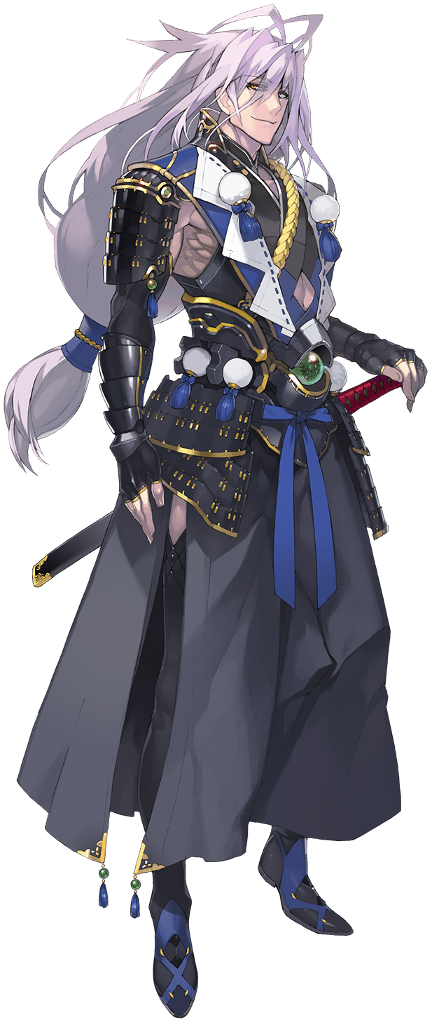 1boy antenna_hair armor black_legwear highres japanese_armor japanese_clothes katana kiwame_(touken_ranbu) kote lavender_hair long_hair low-tied_long_hair male_focus namaniku_atk official_art pom_pom_(clothes) red_eyes sengo_muramasa_(touken_ranbu) sheath sheathed side_slit smile sode sword thigh-highs touken_ranbu transparent_background weapon