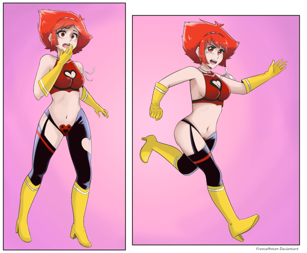 bare_arms black_legwear boots choker cutie_honey gasp gloves magical_girl open_mouth pink_background reaching red_clothes redhead ribbon short_hair shouting slow_motion stomach yellow_gloves