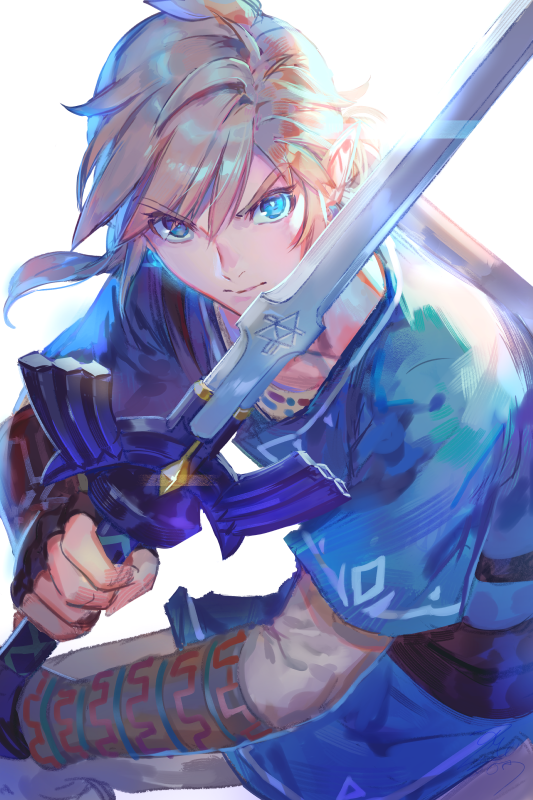 >:) 1boy azutarou bangs black_gloves blonde_hair blue_eyes closed_mouth earrings fighting_stance fingerless_gloves food gloves holding holding_food jewelry layered_sleeves link long_hair looking_at_viewer low_ponytail male_focus master_spark pants pointy_ears serious shiny shiny_hair simple_background solo standing the_legend_of_zelda the_legend_of_zelda:_breath_of_the_wild thick_eyebrows tunic v-shaped_eyebrows white_background white_pants