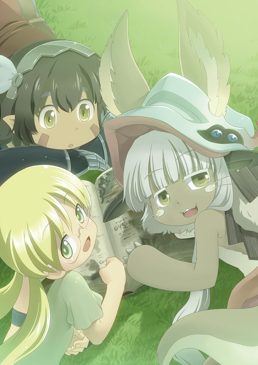 3girls animal_ears blonde_hair book brown_eyes brown_hair claws clenched_hand commentary_request eyebrows_visible_through_hair fang gauntlets glasses grass green_eyes hairband helmet highres holding holding_book looking_at_viewer lying made_in_abyss mizuki_hitoshi multiple_girls nanachi_(made_in_abyss) on_stomach open_mouth pointy_ears regu_(made_in_abyss) riko_(made_in_abyss) shirt short_sleeves sidelocks smile tail twintails whiskers white_hair