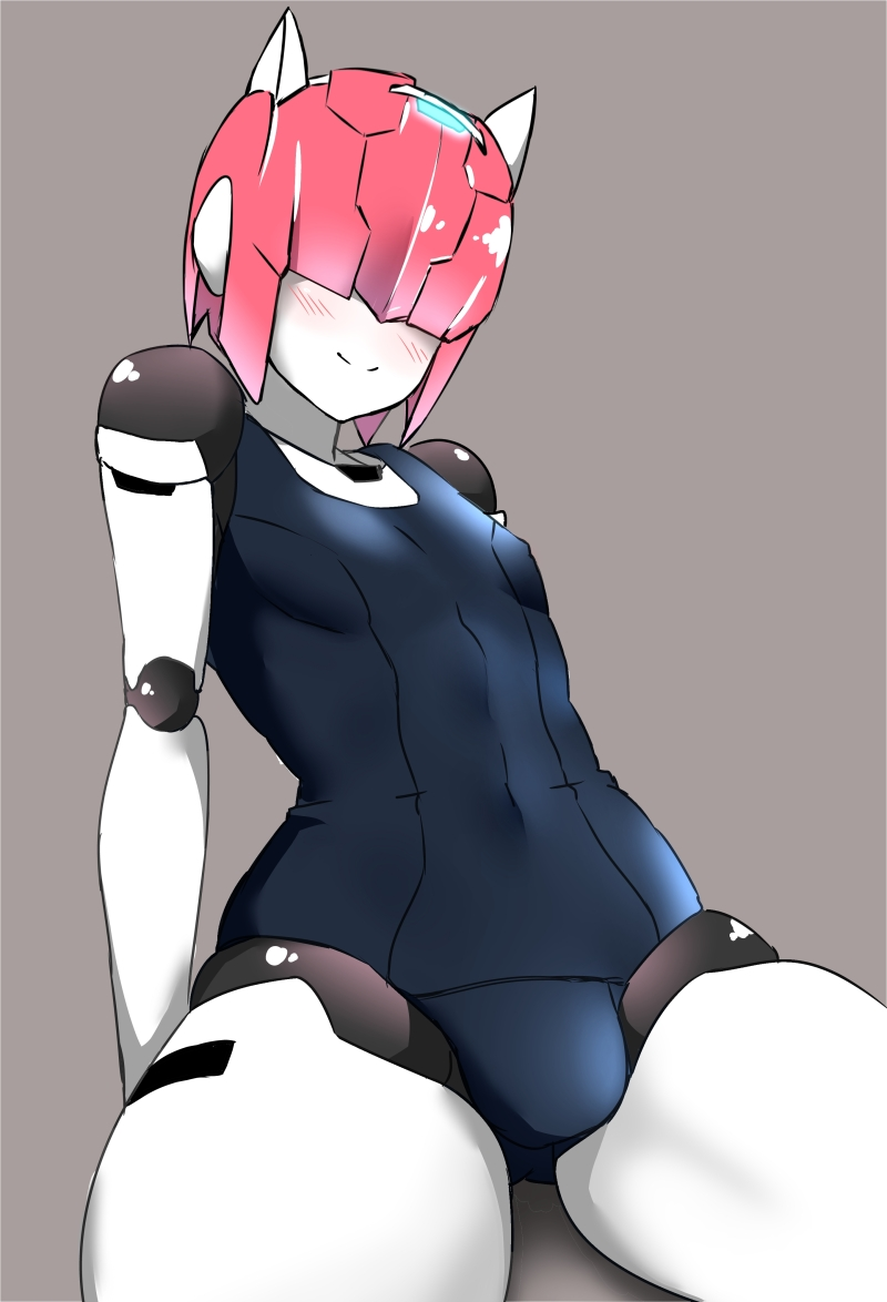 1boy android blush bulge hair_over_eyes male_focus no_humans pink_hair robot_joints robot_neoanthropinae_polynian school_swimsuit shamrock_(polynian) solo swimsuit trap tuto_(nonokuro-psyche-delic)