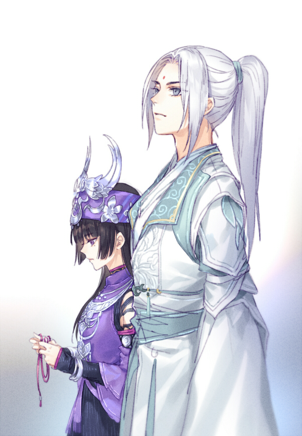 1boy 1girl black_hair blue_eyes closed_mouth dress from_side gradient gradient_background hair_tie headband headpiece height_difference holding jian_wang_3 kangetsu_(fhalei) long_hair long_sleeves looking_down mole mole_under_eye ponytail purple_dress robe silver_hair standing violet_eyes