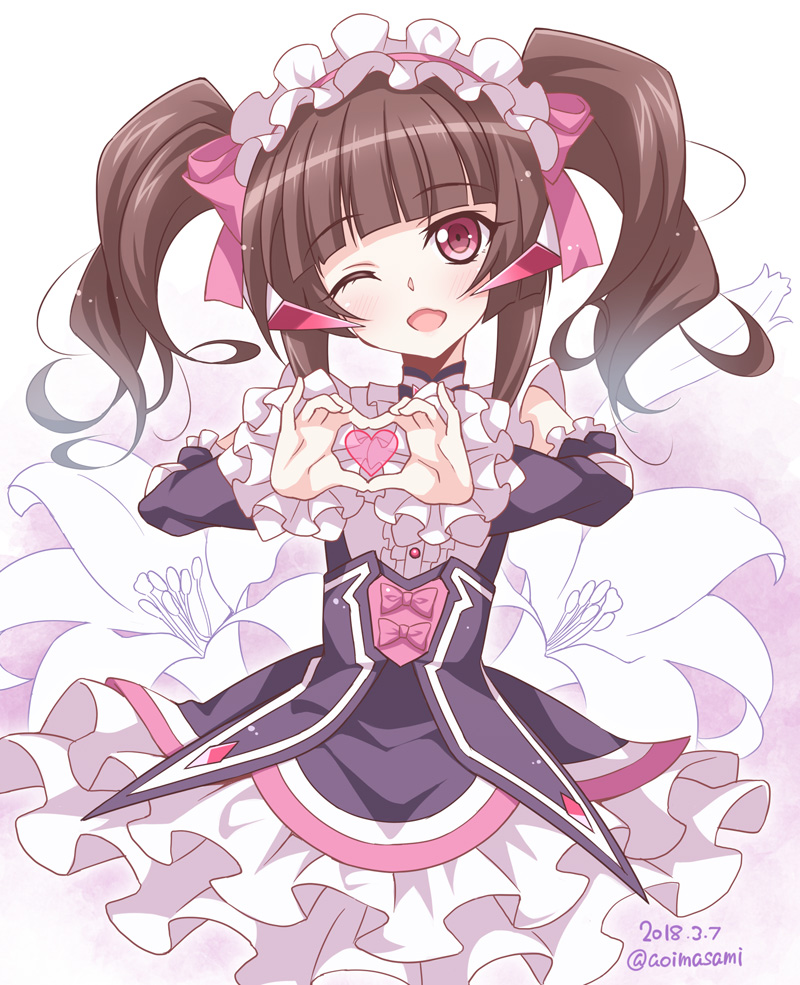 1girl ;d bangs black_dress blush brown_hair commentary_request dated detached_sleeves dress eyebrows_visible_through_hair flower frilled_hairband hairband head_tilt heart heart_hands lily_(flower) long_sleeves looking_at_viewer one_eye_closed open_mouth pink_hairband red_eyes senki_zesshou_symphogear sidelocks sleeveless sleeveless_dress smile solo soukai_(lemonmaiden) tsukuyomi_shirabe twintails twitter_username