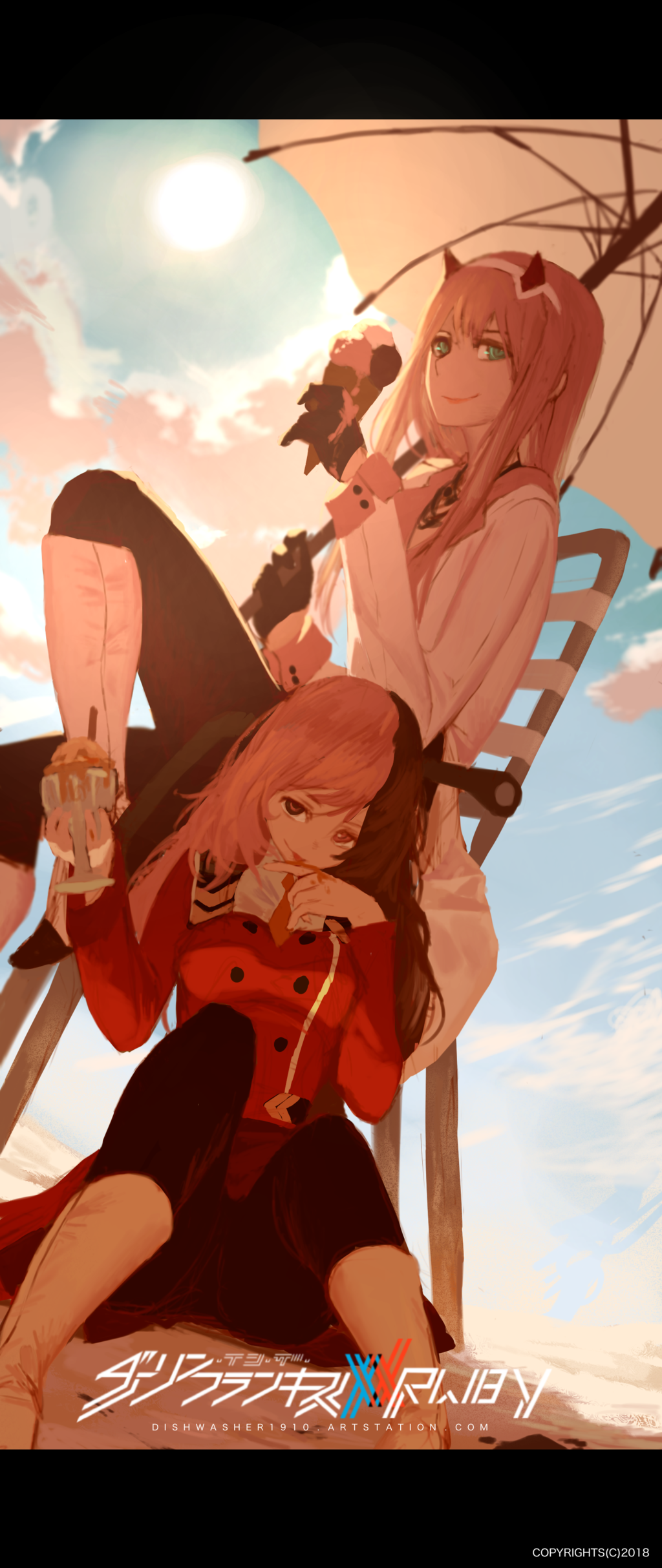 2girls absurdres beach clouds cloudy_sky cosplay costume_switch darling_in_the_franxx dishwasher1910 food glass highres ice_cream ice_cream_cone multiple_girls neo_(rwby) parasol school_uniform sky smile smug umbrella zero_two_(darling_in_the_franxx)
