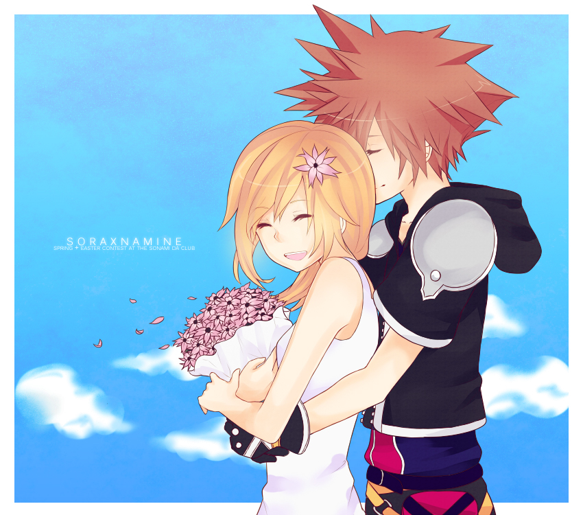 1boy 1girl bad_id bad_pixiv_id blonde_hair breasts dress karudoll kingdom_hearts kingdom_hearts_ii medium_hair namine sora_(kingdom_hearts) sundress white_dress