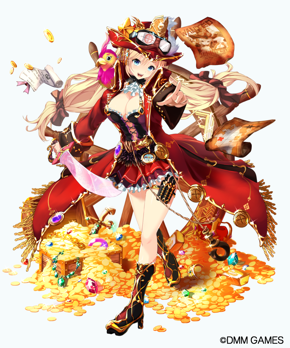 1girl :d animal animal_on_shoulder bird_on_shoulder blonde_hair blue_background blue_eyes boots box breasts brown_footwear cleavage coin compass full_body gem gold_bar hat hellnyaa high_heel_boots high_heels highres holding holding_sword holding_weapon jennifer_(x-overd) large_breasts long_hair looking_at_viewer low-tied_long_hair necklace_removed official_art open_mouth original pointing pointing_at_viewer red_skirt ruby scroll skirt smile solo standing sword treasure treasure_map twintails very_long_hair wanted watermark weapon x-overd