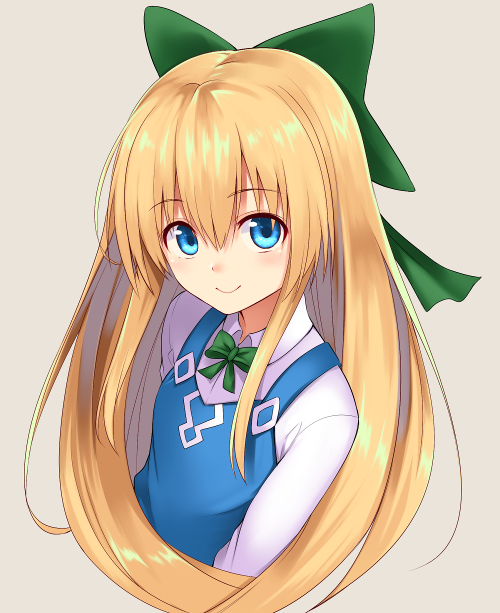 1girl bangs blonde_hair blue_eyes blue_vest bow bowtie closed_mouth collared_shirt cropped_torso eyebrows_visible_through_hair from_above green_bow green_neckwear grey_background hair_between_eyes hair_bow highres long_hair long_sleeves looking_at_viewer mahcdai original shiny shiny_hair shirt sidelocks simple_background smile solo upper_body vest white_shirt wing_collar