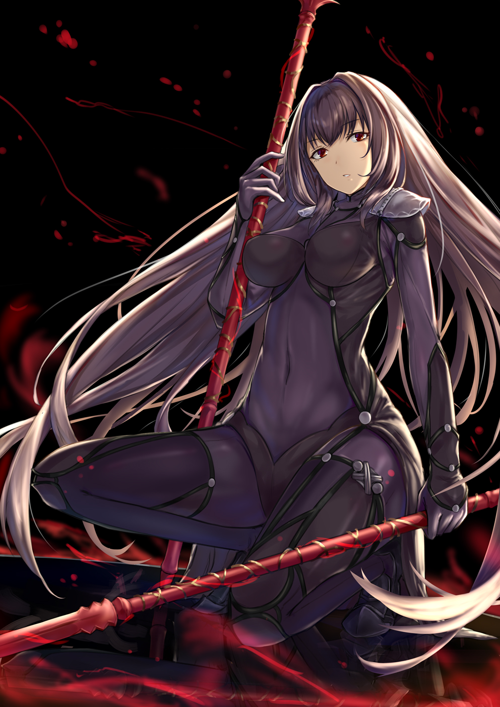 1girl armor bangs black_background black_hair blood blood_splatter bodysuit breasts covered_navel dual_persona eyebrows_visible_through_hair fate/grand_order fate_(series) gae_bolg gohei_(aoi_yuugure) highres holding holding_weapon impossible_bodysuit impossible_clothes large_breasts light long_hair looking_at_viewer one_knee pauldrons purple_bodysuit red_eyes reflection reflective_floor scathach_(fate/grand_order) shoulder_armor simple_background skin_tight solo very_long_hair weapon