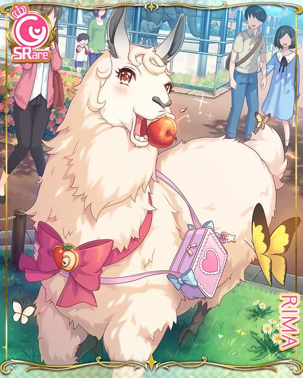 apple bag butterfly card_(medium) child cygames extra food fruit handbag llama official_art princess_connect! ribbon rima_(princess_connect) yellow_eyes