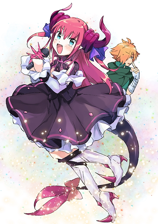 1boy 1girl :d bandage bandaged_arm bangs black_dress blue_eyes blush bow demon_horns demon_tail dress elizabeth_bathory_(fate) elizabeth_bathory_(fate)_(all) eyebrows eyebrows_visible_through_hair fang fate/extra fate/extra_ccc fate/grand_order fate_(series) frilled_dress frills hair_between_eyes high_heels holding holding_microphone horns kneehighs long_hair long_sleeves medu_(rubish) microphone open_mouth orange_hair pink_bow pink_hair pointy_ears robin_hood_(fate) smile solo_focus spikes tail tail_bow tongue turtleneck white_legwear