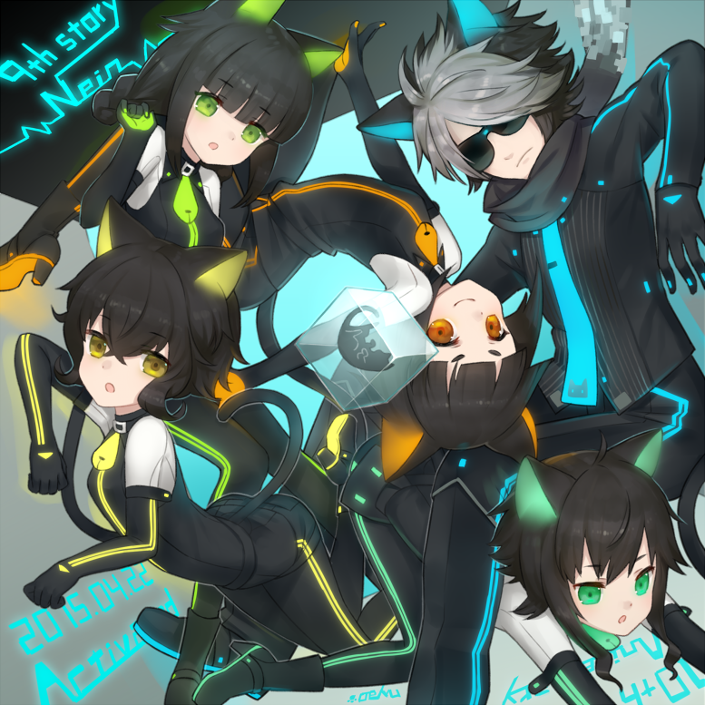 1boy 4girls animal_ears black_cat black_hair black_scarf cat cat_ears cat_tail ding elbow_gloves gerat gloves green_eyes grey_hair looking_at_viewer multicolored_hair multiple_girls necktie nein_(album) neon_lights noel_(sound_horizon) nyao_(0207) orange_eyes rohre scarf schau short_hair smile sound_horizon tail yellow_eyes
