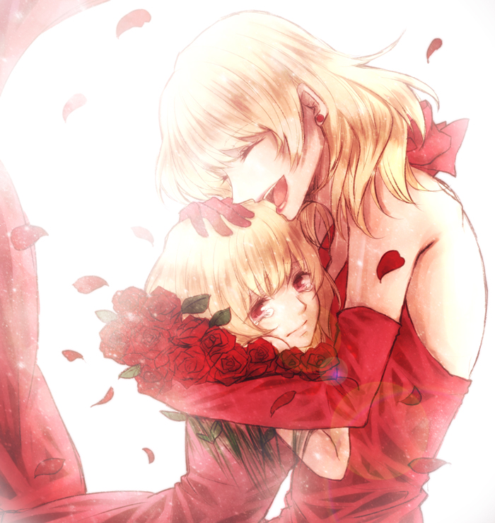 2girls bare_shoulders blonde_hair candeur closed_eyes commentary_request crying crying_with_eyes_open curtains dress earrings elbow_gloves flower gloves hand_on_another's_head jewelry lips multiple_girls nein_(album) open_mouth petals red_dress red_eyes red_flower red_gloves red_rose rose sleeveless sleeveless_dress smile sound_horizon stella_(sound_horizon) tears time_paradox