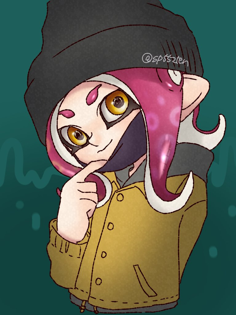 1girl agent_8 arm_behind_back beanie coat grey_background hat mask mask_removed octarian pink_hair pointy_ears simple_background smile splatoon splatoon_2 surgical_mask takozonesu tenchou_(sakai) tentacle_hair twitter_username yellow_eyes