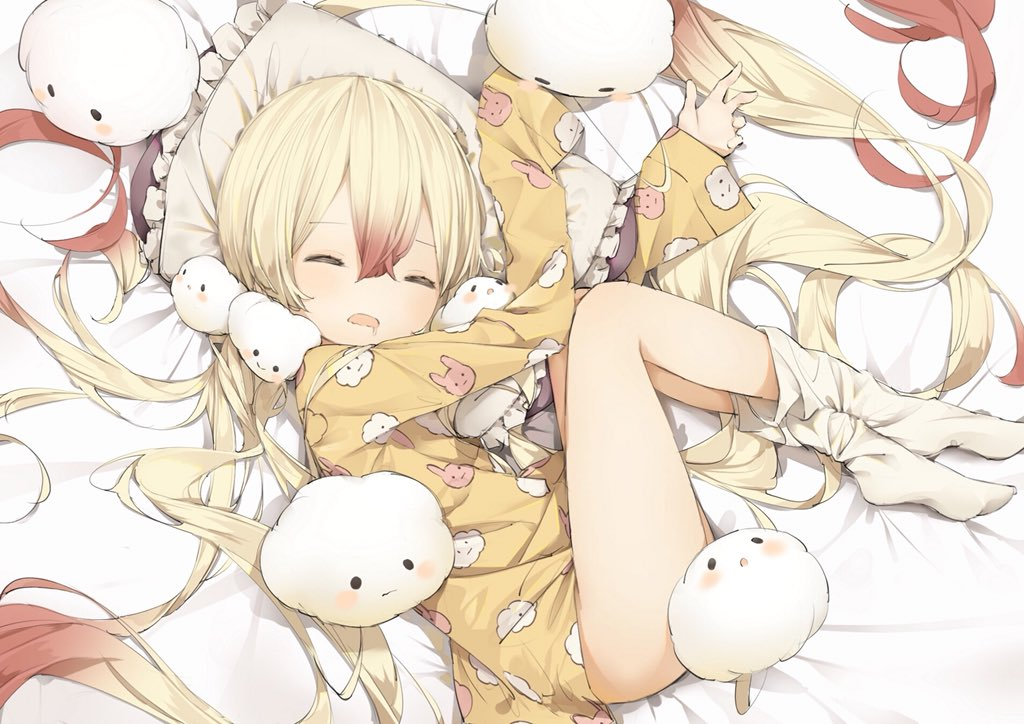 1girl bangs bed_sheet blonde_hair brown_hair closed_eyes commentary_request drooling eyebrows_visible_through_hair frilled_pillow frills full_body gradient_hair hair_between_eyes long_hair long_sleeves loose_socks lying mabuta_(byc0yqf4mabye5z) mahou_shoujo_ikusei_keikaku multicolored_hair nemurin no_shoes on_side open_mouth pillow print_shirt saliva shirt sleeves_past_wrists socks solo very_long_hair white_legwear yellow_shirt