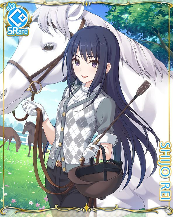 1girl black_hair card_(medium) cygames dress_shirt gloves horse long_hair official_art pants princess_connect! riding_crop shijou_rei shirt violet_eyes