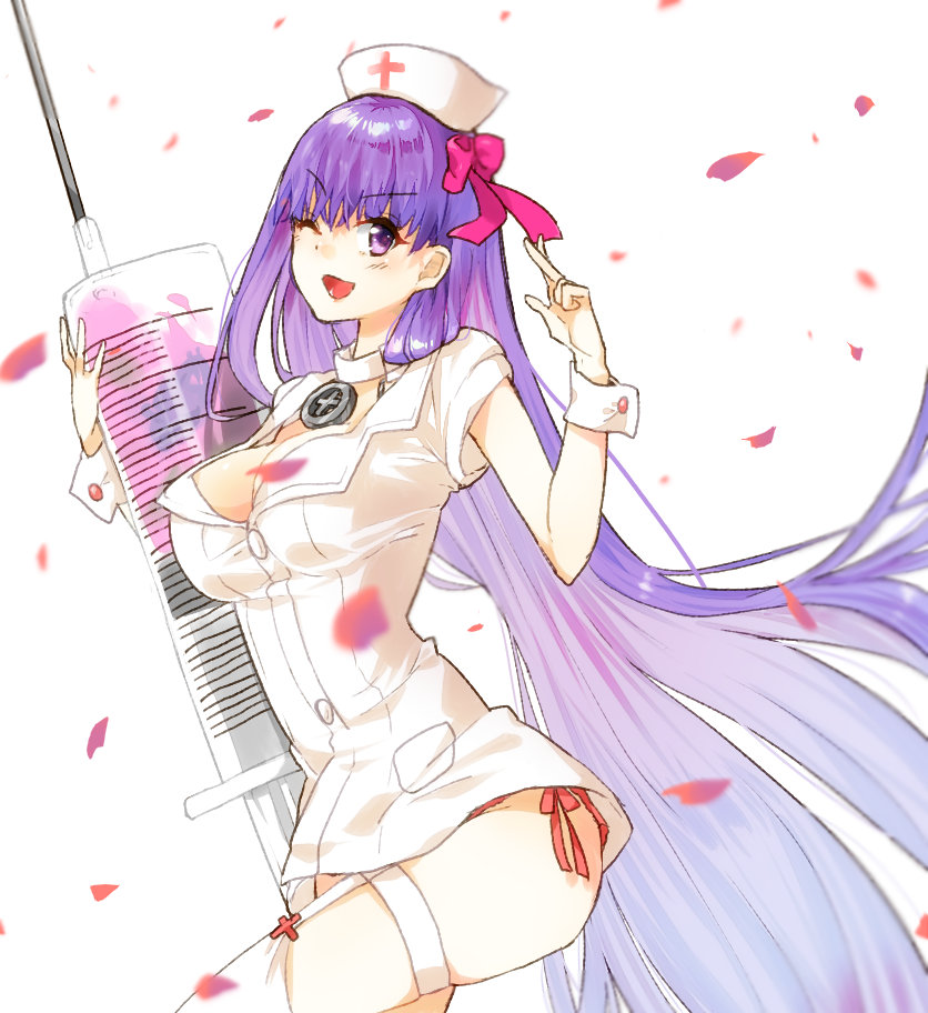 1girl bb_(fate/extra_ccc) breasts cleavage eyebrows_visible_through_hair fate/extra fate/extra_ccc fate/grand_order fate_(series) hair_ribbon hat large_breasts long_hair looking_at_viewer nurse nurse_cap one_eye_closed oversized_object panties panty_peek petals purple_hair red_panties ribbon side-tie_panties smile solo syringe thigh_strap underwear usagiofshintaro very_long_hair violet_eyes wrist_cuffs