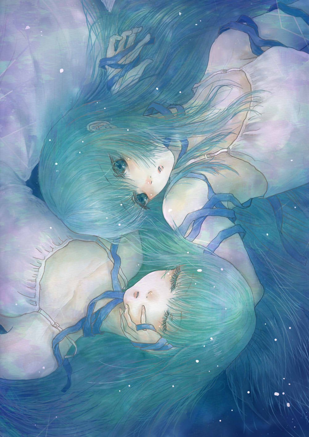 2girls aqua aqua_eyes aqua_hair armpits bangs blunt_bangs blush breasts closed_eyes collarbone commentary dress eyelashes fingernails hand_in_hair hand_on_another's_face highres lips long_hair looking_at_another lying multiple_girls original parted_lips sleeping sleeveless sleeveless_dress small_breasts strap wariko white_dress