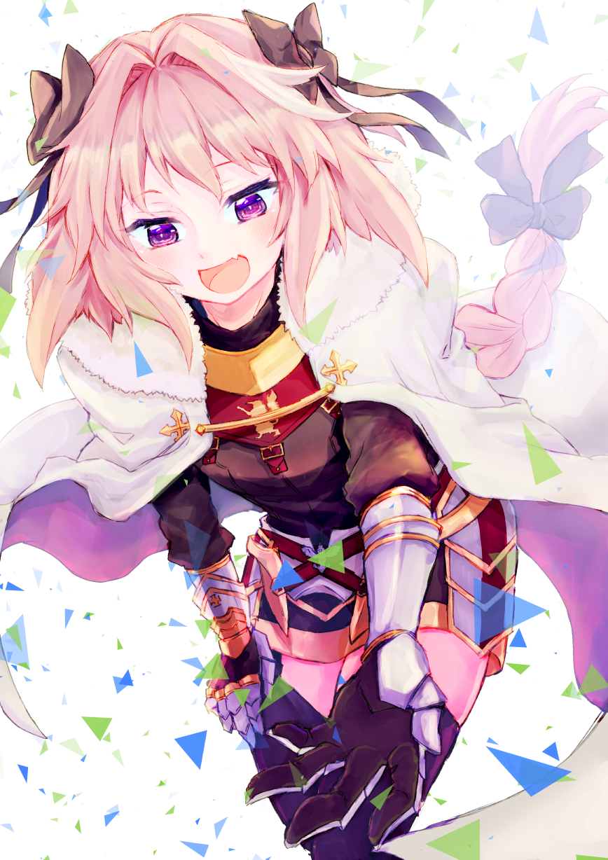 1boy :d arm_support astolfo_(fate) bangs black_bow black_gloves black_legwear black_shirt black_skirt blush bow braid buckle cloak commentary_request emblem eyebrows_visible_through_hair eyelashes fang fate/apocrypha fate_(series) faulds foreshortening fur-trimmed_cloak fur_collar garter_straps gauntlets gloves gold_trim gorget hair_bow hair_intakes half-closed_eyes hand_on_own_leg highres leaning_forward long_hair long_sleeves male_focus miniskirt multicolored_hair open_mouth outstretched_arm outstretched_hand pink_hair puffy_long_sleeves puffy_sleeves reaching_out shirt simple_background single_braid skirt smile solo standing streaked_hair thigh-highs trap triangle turtleneck two-tone_hair very_long_hair violet_eyes white_background white_cloak white_hair