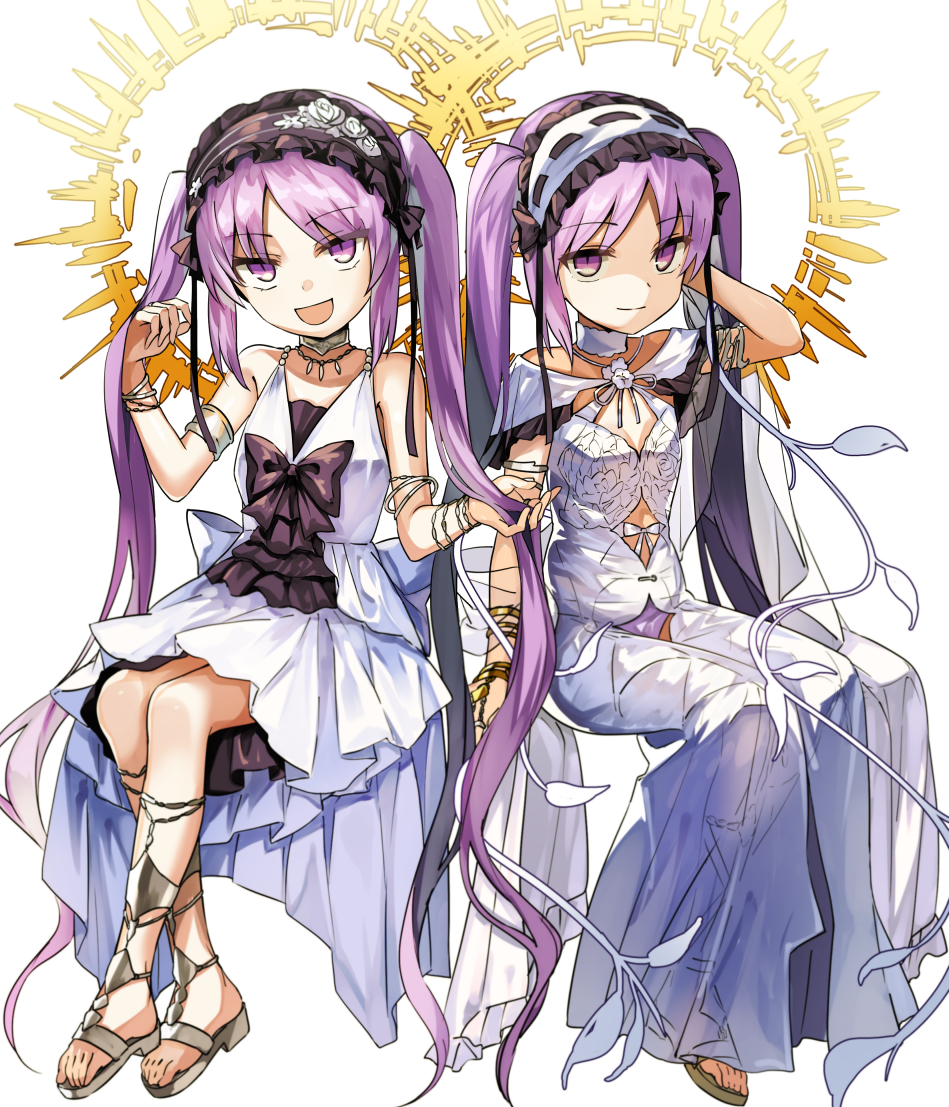 2girls :d arm_behind_head bangs bare_arms bare_shoulders barefoot_sandals bonnet bow bracelet choker dress euryale eyebrows_visible_through_hair fate/grand_order fate/hollow_ataraxia fate_(series) flat_chest full_body hairband halo jewelry lolita_hairband long_hair looking_at_viewer manarou multiple_girls necklace open_mouth parted_bangs purple_hair sandals see-through siblings simple_background sisters sitting sleeveless sleeveless_dress smile stheno twins twintails very_long_hair violet_eyes white_background white_dress