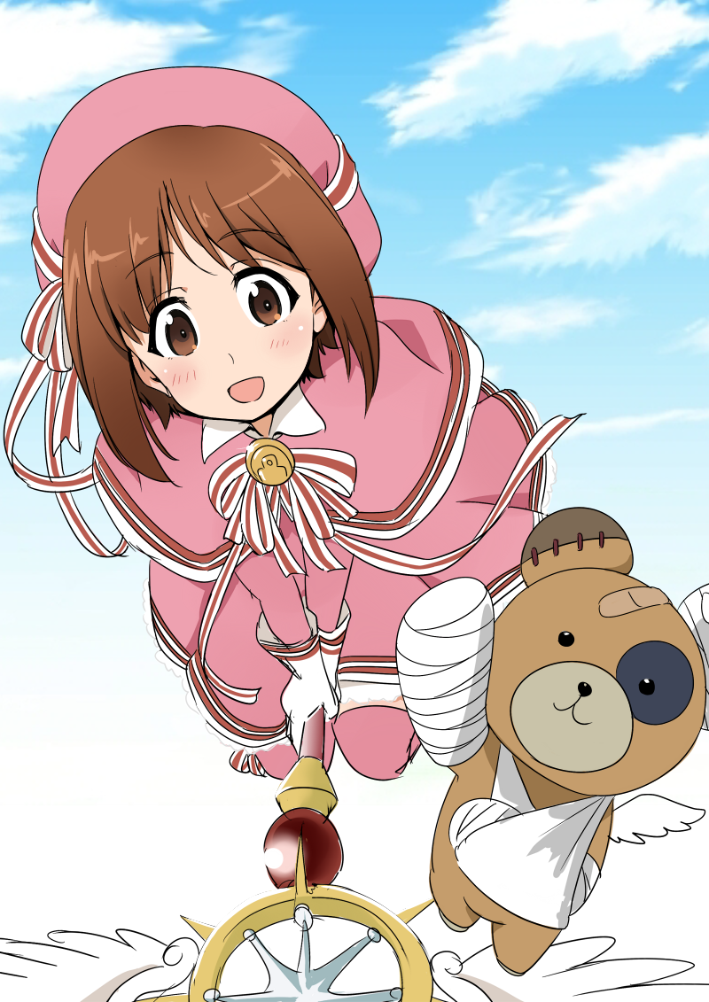 1girl :d bandage bandaid bangs beret boko_(girls_und_panzer) broom broom_riding brown_eyes brown_hair card_captor_sakura cast clouds cloudy_sky commentary_request cosplay day dress eyebrows_visible_through_hair flying frilled_dress frills full_body girls_und_panzer gloves hat hat_ribbon holding holding_wand kinomoto_sakura kinomoto_sakura_(cosplay) looking_at_viewer magical_girl medium_dress neck_ribbon nekota_susumu nishizumi_miho open_mouth pink_capelet pink_dress pink_hat pink_legwear red_neckwear ribbon short_hair sky smile solo stuffed_animal stuffed_toy teddy_bear thigh-highs wand white_gloves yume_no_tsue
